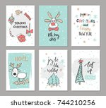 christmas hand drawn cute cards ... | Shutterstock .eps vector #744210256