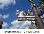 public historical signs to... | Shutterstock . vector #744210346