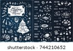 christmas menu template.... | Shutterstock .eps vector #744210652