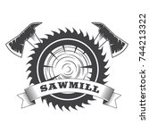 sawmill logo with saw and axes... | Shutterstock .eps vector #744213322