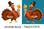 thanksgiving day. funny cartoon ... | Shutterstock .eps vector #744217375