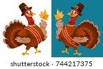 thanksgiving day. funny cartoon ...   Shutterstock .eps vector #744217375