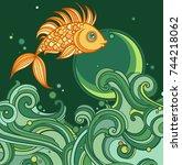 magic goldfish. vector... | Shutterstock .eps vector #744218062