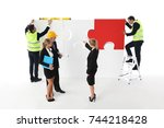 team of business people and... | Shutterstock . vector #744218428