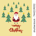 cheerful santa in a christmas... | Shutterstock .eps vector #744219052