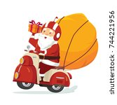 happy smile santa claus riding... | Shutterstock .eps vector #744221956
