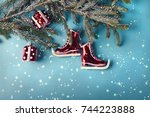 retro ice skates decoration for ... | Shutterstock . vector #744223888