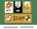 set image with symbol of year... | Shutterstock .eps vector #744225556