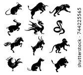 set of black twelve chinese... | Shutterstock .eps vector #744225565