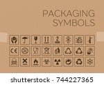 vector packaging symbols set on ... | Shutterstock .eps vector #744227365