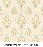 retro seamless damask wallpaper.... | Shutterstock .eps vector #744234586
