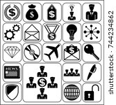 set of 22 business icons ... | Shutterstock .eps vector #744234862