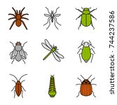 insects color icons set. spider ... | Shutterstock .eps vector #744237586