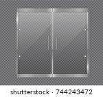 transparent glass door. glass... | Shutterstock .eps vector #744243472
