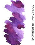 card with violet watercolor... | Shutterstock .eps vector #744244732