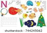letter n. dot to dot... | Shutterstock .eps vector #744245062