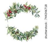 watercolor winter floral... | Shutterstock . vector #744246718