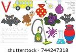 letter v. dot to dot... | Shutterstock .eps vector #744247318