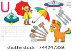 letter u. dot to dot... | Shutterstock .eps vector #744247336