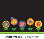a group of stylized flowers on... | Shutterstock .eps vector #74424949