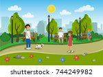 city park with people. vector... | Shutterstock .eps vector #744249982