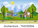 city park with people. vector... | Shutterstock .eps vector #744250006