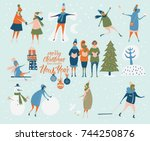 merry christmas and happy new... | Shutterstock .eps vector #744250876