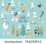 merry christmas and happy new... | Shutterstock .eps vector #744250912