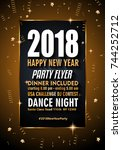 2018 happy new year background... | Shutterstock .eps vector #744252712