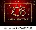 2018 happy new year background... | Shutterstock .eps vector #744253132