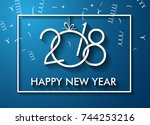 2018 happy new year background... | Shutterstock .eps vector #744253216