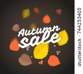 autumn sale vector illustration.... | Shutterstock .eps vector #744253405