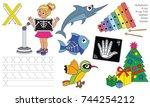 letter x. dot to dot...   Shutterstock .eps vector #744254212