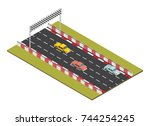 isometric race track road with... | Shutterstock .eps vector #744254245