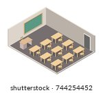 isometric classroom interrior... | Shutterstock .eps vector #744254452