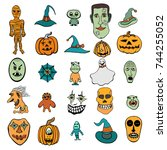 set of halloween monsters and... | Shutterstock .eps vector #744255052