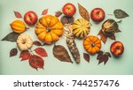 Flat Lay Of Autumn Composition...