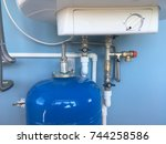 connection of home water heater.... | Shutterstock . vector #744258586