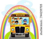 cartoon school kids riding a... | Shutterstock . vector #744259705