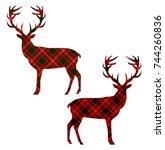 deer on tartan background.... | Shutterstock .eps vector #744260836