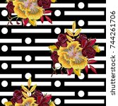 vintage seamless pattern with... | Shutterstock .eps vector #744261706