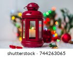 red christmas lantern with... | Shutterstock . vector #744263065