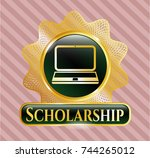 gold emblem with laptop icon... | Shutterstock .eps vector #744265012