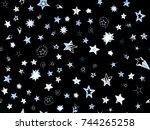 doodle stars seamless pattern.... | Shutterstock .eps vector #744265258