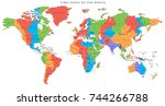 vector detailed world map with... | Shutterstock .eps vector #744266788