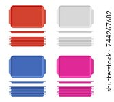plastic blank food tray set... | Shutterstock .eps vector #744267682