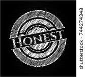 honest chalk emblem written on... | Shutterstock .eps vector #744274348