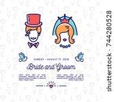 vector bride and groom  wedding ... | Shutterstock .eps vector #744280528