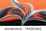 macro view of book pages.... | Shutterstock . vector #744281662
