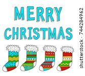 greeting card  merry christmas. ... | Shutterstock .eps vector #744284962